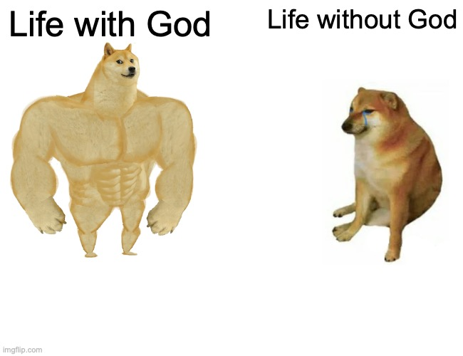 Life with God vs Life without God |  Life with God; Life without God | image tagged in memes,buff doge vs cheems | made w/ Imgflip meme maker