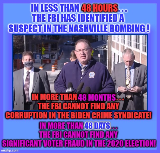 IN LESS THAN 48 HOURS. . . THE FBI HAS IDENTIFIED A  SUSPECT IN THE NASHVILLE BOMBING ! 48 HOURS; IN MORE THAN 48 MONTHS. . .  THE FBI CANNOT FIND ANY CORRUPTION IN THE BIDEN CRIME SYNDICATE! 48 MONTHS; IN MORE THAN 48 DAYS. . .  THE FBI CANNOT FIND ANY  SIGNIFICANT VOTER FRAUD IN THE 2020 ELECTION! 48 DAYS | made w/ Imgflip meme maker