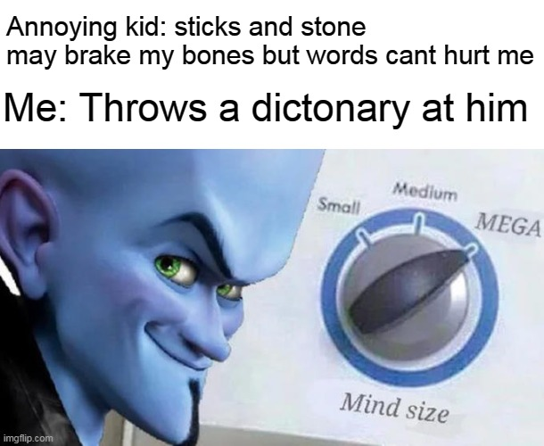 Mega Mind Size |  Annoying kid: sticks and stone may brake my bones but words cant hurt me; Me: Throws a dictonary at him | image tagged in mega mind size,memes,funny,annoying kid,school,school memes | made w/ Imgflip meme maker
