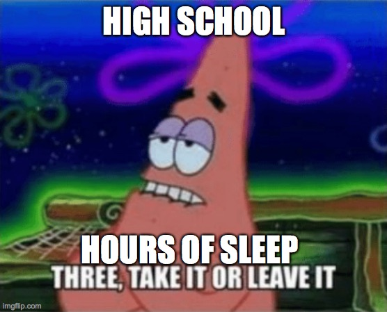 Three, Take it or leave it |  HIGH SCHOOL; HOURS OF SLEEP | image tagged in three take it or leave it | made w/ Imgflip meme maker