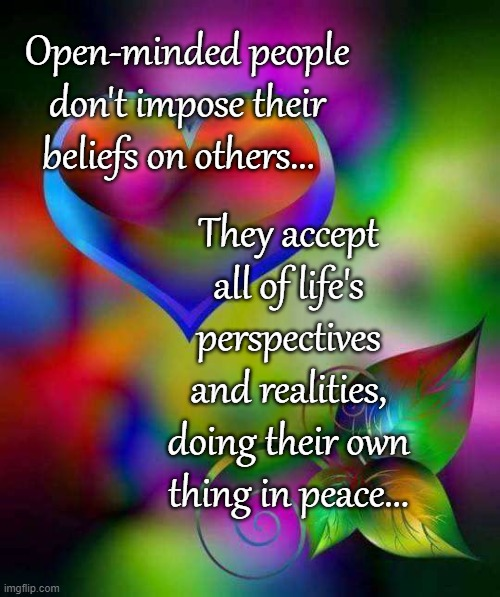 True story... |  Open-minded people don't impose their beliefs on others... They accept all of life's perspectives and realities, doing their own thing in peace... | image tagged in open-minded,people,accept,all,peace | made w/ Imgflip meme maker