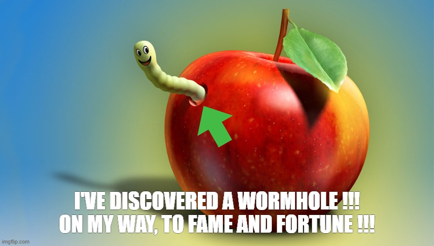On my way to fame and fortune !!! |  I'VE DISCOVERED A WORMHOLE !!! ON MY WAY, TO FAME AND FORTUNE !!! | image tagged in funny,meme,fame,worm,excited,space | made w/ Imgflip meme maker