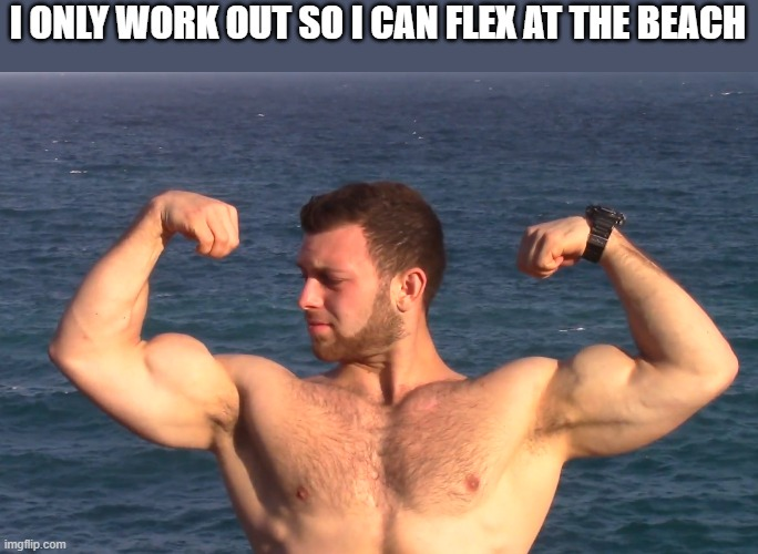 Flexing Muscles At The Beach |  I ONLY WORK OUT SO I CAN FLEX AT THE BEACH | image tagged in flexing,muscles,beach,work out,flex,funny | made w/ Imgflip meme maker