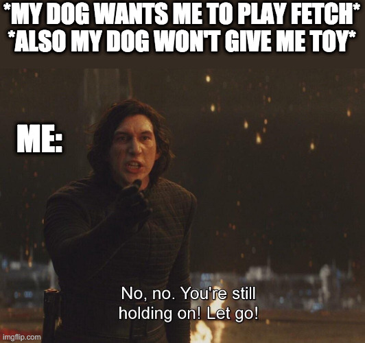 Playing fetch |  *MY DOG WANTS ME TO PLAY FETCH* *ALSO MY DOG WON'T GIVE ME TOY*; ME: | image tagged in kylo ren let go,dog,star wars | made w/ Imgflip meme maker