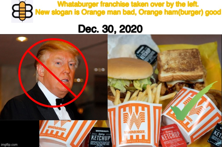 Any other ideas for slogans? |  Whataburger franchise taken over by the left. New slogan is Orange man bad, Orange ham(burger) good; Dec. 30, 2020 | image tagged in whataburger,orange,trump,babylon bee,its a joke | made w/ Imgflip meme maker