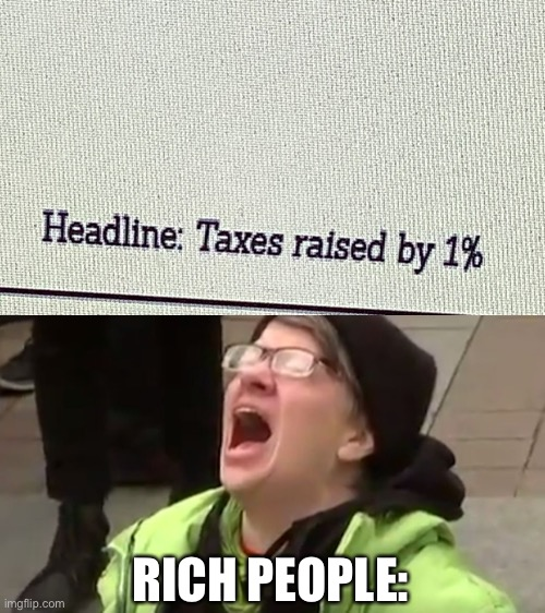 The rich don't like taxes |  RICH PEOPLE: | image tagged in screaming liberal,rich | made w/ Imgflip meme maker