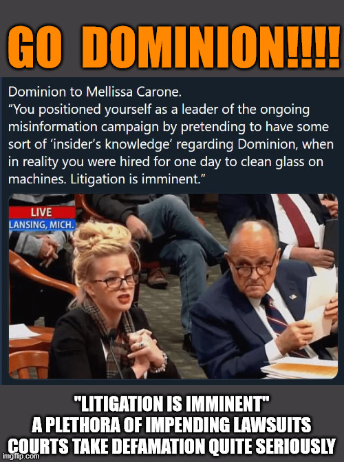 "This is just a taste of the thrill ride that awaits us post-January 20th.  HOLD ON TIGHT! |  GO  DOMINION!!!! ""LITIGATION IS IMMINENT"" A PLETHORA OF IMPENDING LAWSUITS COURTS TAKE DEFAMATION QUITE SERIOUSLY 