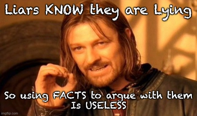 One Does Not Simply |  Liars KNOW they are Lying; So using FACTS to argue with them Is USELESS | image tagged in memes,one does not simply | made w/ Imgflip meme maker