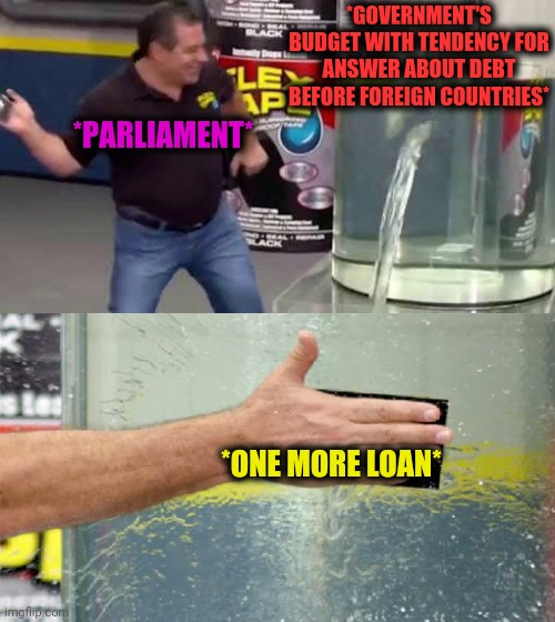 -Last electors. |  *GOVERNMENT'S BUDGET WITH TENDENCY FOR ANSWER ABOUT DEBT BEFORE FOREIGN COUNTRIES*; *PARLIAMENT*; *ONE MORE LOAN* | image tagged in flex tape,government shutdown,budget cuts,national debt,small loan,parliament | made w/ Imgflip meme maker