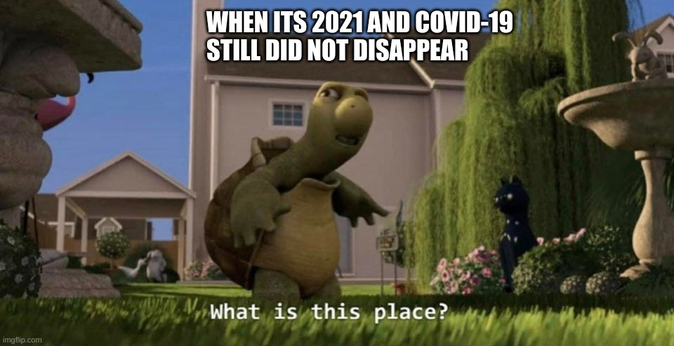 What is this place |  WHEN ITS 2021 AND COVID-19 STILL DID NOT DISAPPEAR | image tagged in what is this place,memes | made w/ Imgflip meme maker