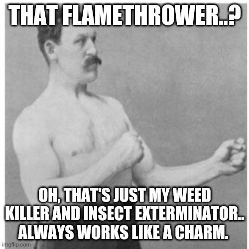 Overly Manly Man |  THAT FLAMETHROWER..? OH, THAT'S JUST MY WEED KILLER AND INSECT EXTERMINATOR.. ALWAYS WORKS LIKE A CHARM. | image tagged in memes,overly manly man | made w/ Imgflip meme maker
