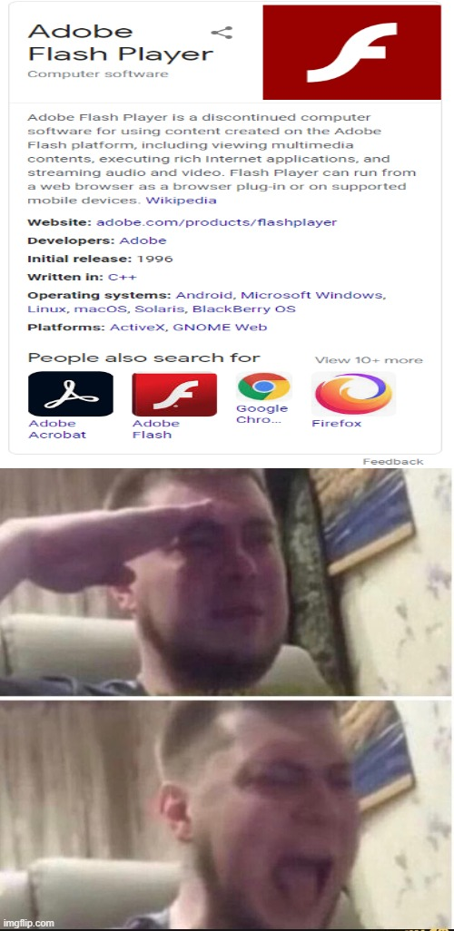 farewell, adobe flash. farewell. | image tagged in crying salute | made w/ Imgflip meme maker