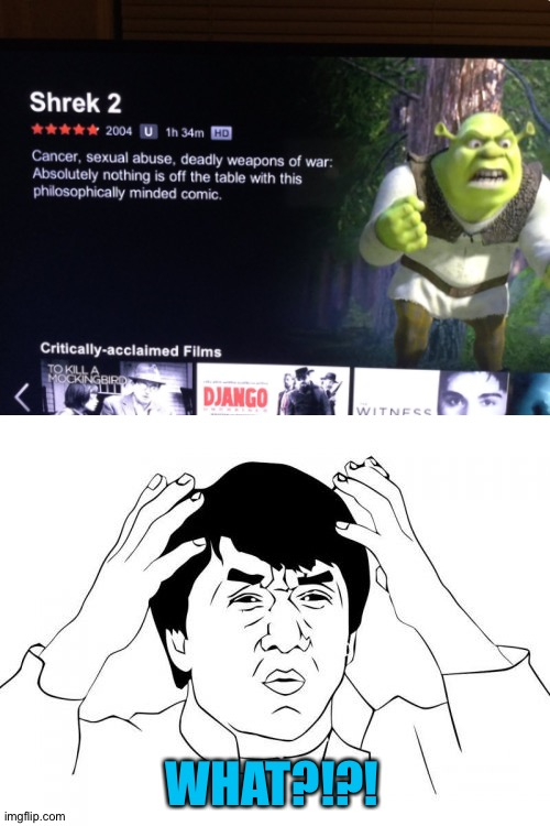 That's not how I remember Shrek... |  WHAT?!?! | image tagged in memes,jackie chan wtf,funny,netflix,shrek,gifs | made w/ Imgflip meme maker