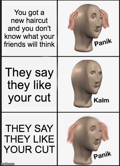 I like ya cut G |  You got a new haircut and you don't know what your friends will think; They say they like your cut; THEY SAY THEY LIKE YOUR CUT | image tagged in memes,panik kalm panik,i like ya cut g | made w/ Imgflip meme maker