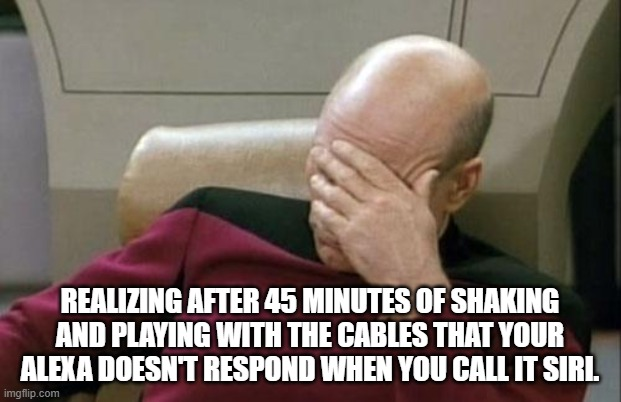 Goofy Voice Recognition |  REALIZING AFTER 45 MINUTES OF SHAKING AND PLAYING WITH THE CABLES THAT YOUR ALEXA DOESN'T RESPOND WHEN YOU CALL IT SIRI. | image tagged in memes,captain picard facepalm,alexa,siri,the struggle is real,technology challenged grandparents | made w/ Imgflip meme maker