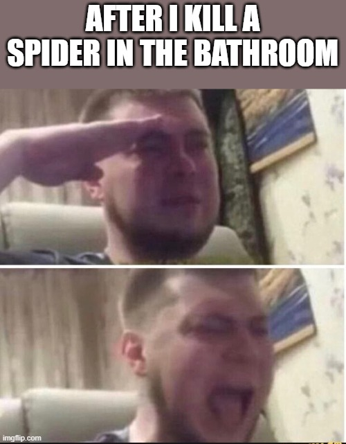 Crying salute |  AFTER I KILL A SPIDER IN THE BATHROOM | image tagged in crying salute | made w/ Imgflip meme maker