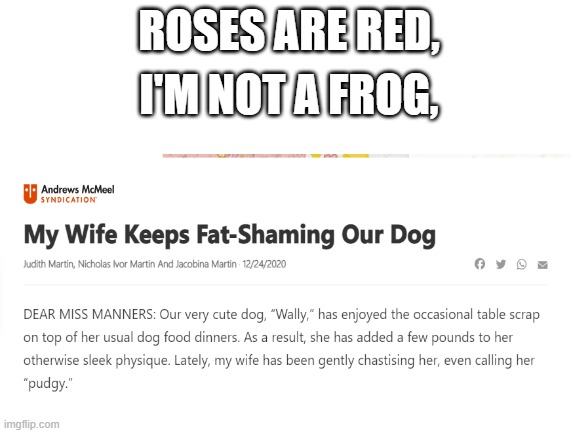 What? |  ROSES ARE RED, I'M NOT A FROG, | image tagged in dog,roses are red,memes,funny,what if i told you,i have no idea | made w/ Imgflip meme maker
