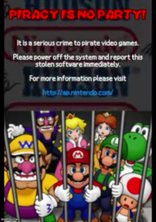 Mario Party DS Piracy Warning! | image tagged in mario party ds piracy warning | made w/ Imgflip meme maker
