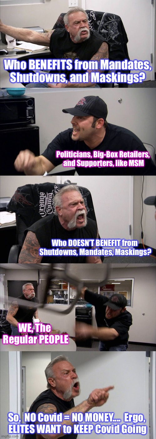 American Chopper Argument |  Who BENEFITS from Mandates, Shutdowns, and Maskings? Politicians, Big-Box Retailers,  and Supporters, like MSM; Who DOESN'T BENEFIT from  Shutdowns, Mandates, Maskings? WE, The  Regular PEOPLE; So,  NO Covid = NO MONEY....  Ergo,  ELITES WANT to KEEP Covid Going | image tagged in memes,american chopper argument | made w/ Imgflip meme maker