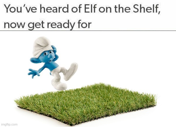 clumsy SMURF trips on TURF | image tagged in blank white template | made w/ Imgflip meme maker