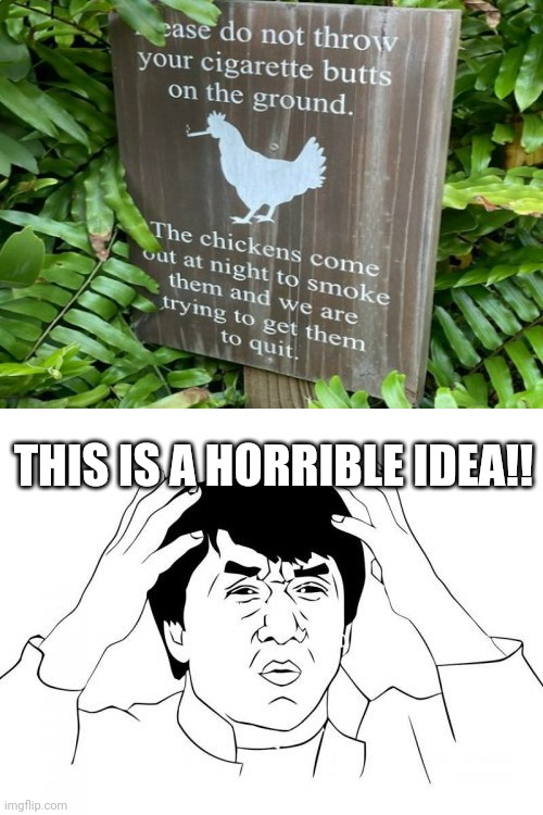 WTF?! |  THIS IS A HORRIBLE IDEA!! | image tagged in memes,jackie chan wtf,funny,you had one job,stupid signs,what a terrible day to have eyes | made w/ Imgflip meme maker