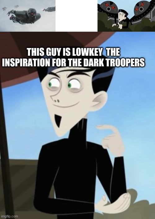 THIS GUY IS LOWKEY  THE INSPIRATION FOR THE DARK TROOPERS | image tagged in blank white template,wild kratts,star wars | made w/ Imgflip meme maker