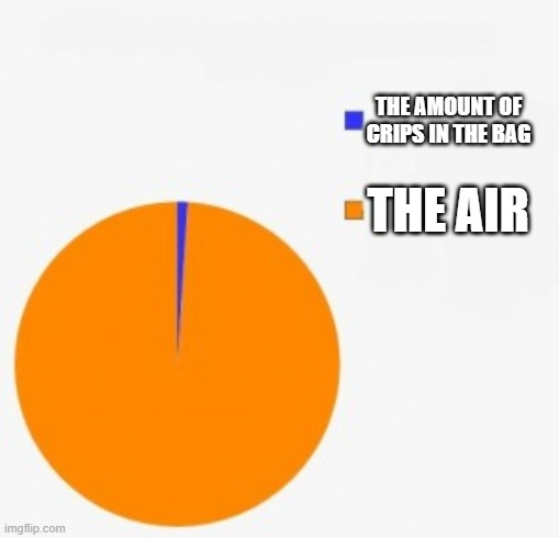 THE AMOUNT OF CRIPS IN THE BAG; THE AIR | image tagged in pie chart/ percentage | made w/ Imgflip meme maker