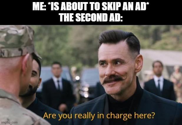 Ads, prepare to have a full-on blown tantrum |  ME: *IS ABOUT TO SKIP AN AD* THE SECOND AD: | image tagged in are you really in charge here,ads,skipping ads,nooo | made w/ Imgflip meme maker
