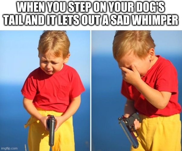 Crying kid with gun |  WHEN YOU STEP ON YOUR DOG'S TAIL AND IT LETS OUT A SAD WHIMPER | image tagged in crying kid with gun | made w/ Imgflip meme maker