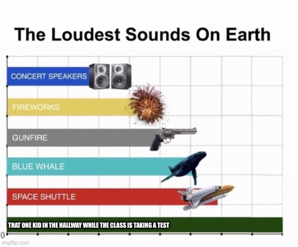Too loud |  THAT ONE KID IN THE HALLWAY WHILE THE CLASS IS TAKING A TEST | image tagged in loudest things | made w/ Imgflip meme maker