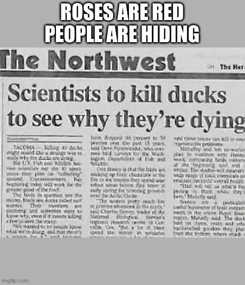 :| |  ROSES ARE RED PEOPLE ARE HIDING | image tagged in funny | made w/ Imgflip meme maker