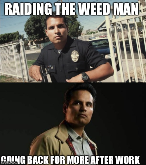 Get yo weed son |  RAIDING THE WEED MAN; GOING BACK FOR MORE AFTER WORK | image tagged in weed,raid | made w/ Imgflip meme maker