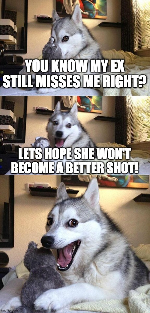 Bad Pun Dog Meme |  YOU KNOW MY EX STILL MISSES ME RIGHT? LETS HOPE SHE WON'T BECOME A BETTER SHOT! | image tagged in memes,bad pun dog | made w/ Imgflip meme maker