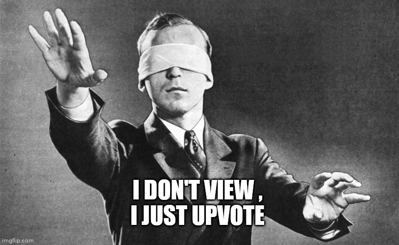 Blindfolded | I DON'T VIEW ,  I JUST UPVOTE | image tagged in blindfolded | made w/ Imgflip meme maker