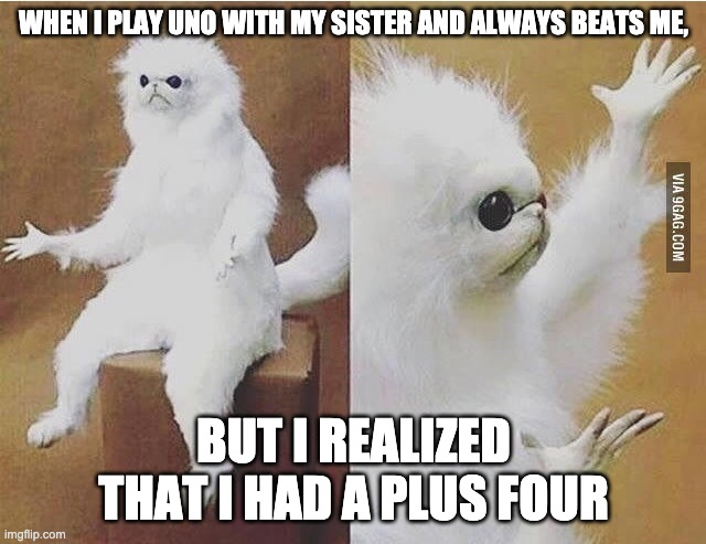 Confused white monkey |  WHEN I PLAY UNO WITH MY SISTER AND ALWAYS BEATS ME, BUT I REALIZED THAT I HAD A PLUS FOUR | image tagged in confused white monkey | made w/ Imgflip meme maker