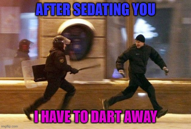Lol. |  AFTER SEDATING YOU; I HAVE TO DART AWAY | image tagged in police chasing guy | made w/ Imgflip meme maker