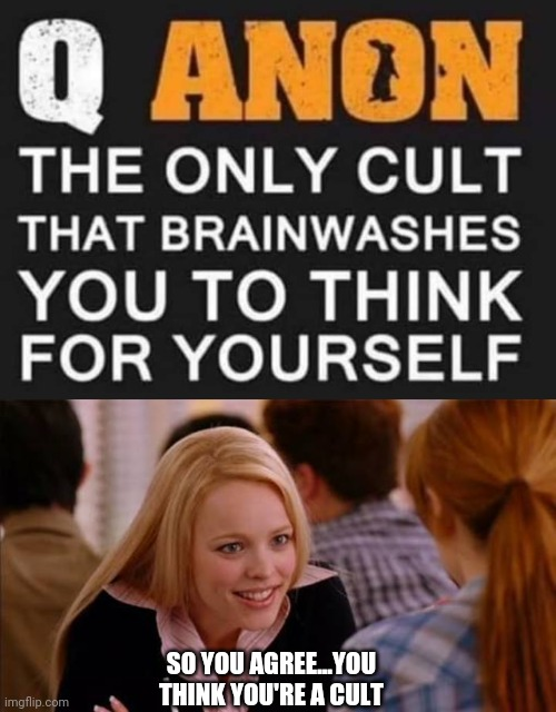 It's a Cult |  SO YOU AGREE...YOU THINK YOU'RE A CULT | image tagged in qanon,cult,mean girls,regina george,brainwashing,brainwashed | made w/ Imgflip meme maker