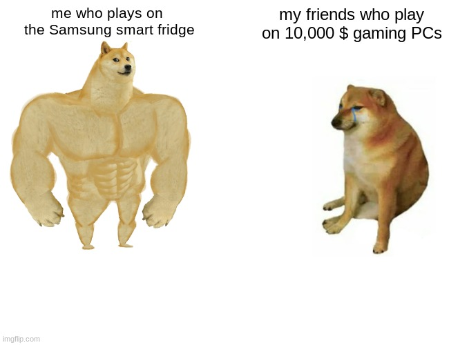 Buff Doge vs. Cheems |  me who plays on  the Samsung smart fridge; my friends who play on 10,000 $ gaming PCs | image tagged in memes,buff doge vs cheems | made w/ Imgflip meme maker