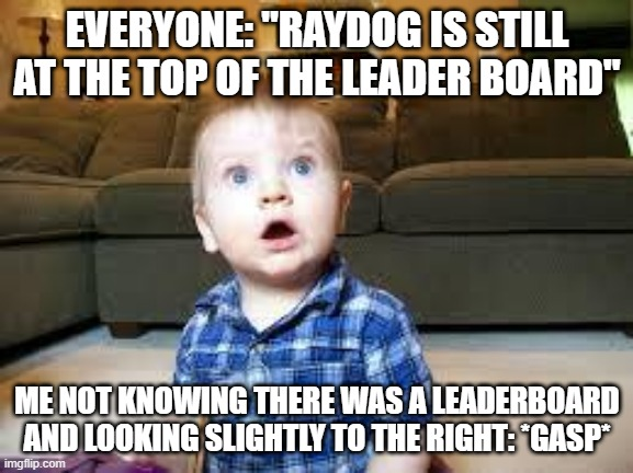 "Suprized baby |  EVERYONE: ""RAYDOG IS STILL AT THE TOP OF THE LEADER BOARD""; ME NOT KNOWING THERE WAS A LEADERBOARD AND LOOKING SLIGHTLY TO THE RIGHT: *GASP* 