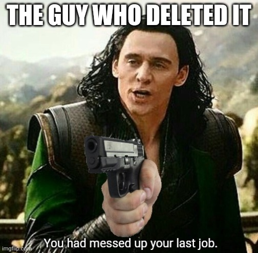 You had messed up your last job. | THE GUY WHO DELETED IT | image tagged in you had messed up your last job | made w/ Imgflip meme maker