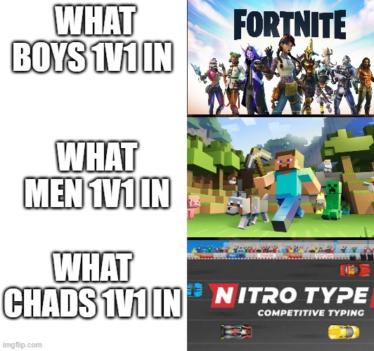 I have spoken |  WHAT BOYS 1V1 IN; WHAT MEN 1V1 IN; WHAT CHADS 1V1 IN | image tagged in chad | made w/ Imgflip meme maker