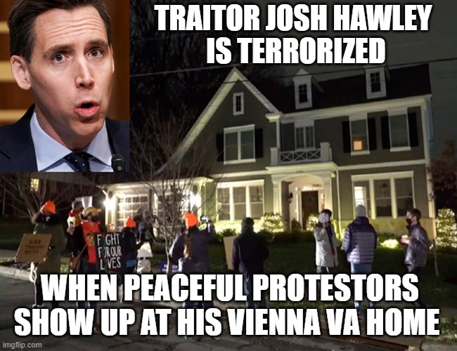 Traitor Josh Hawley - Public Enemy #1 |  TRAITOR JOSH HAWLEY  IS TERRORIZED; WHEN PEACEFUL PROTESTORS SHOW UP AT HIS VIENNA VA HOME | image tagged in josh hawley,election 2020,electoral college,certification,scumbag republicans,traitor | made w/ Imgflip meme maker