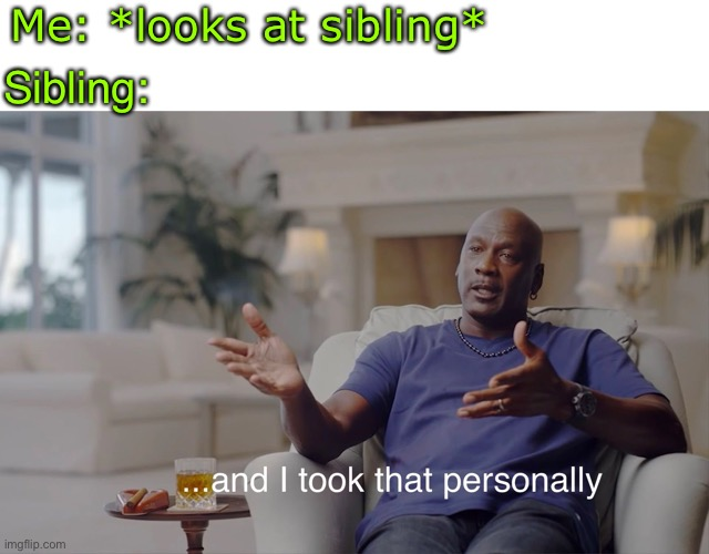 a |  Me: *looks at sibling*; Sibling: | image tagged in and i took that personally,brother,sister,siblings | made w/ Imgflip meme maker