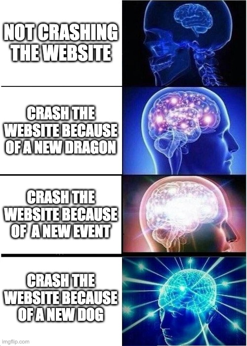 Adopt me be like |  NOT CRASHING THE WEBSITE; CRASH THE WEBSITE BECAUSE OF A NEW DRAGON; CRASH THE WEBSITE BECAUSE OF  A NEW EVENT; CRASH THE WEBSITE BECAUSE OF A NEW DOG | image tagged in memes,expanding brain | made w/ Imgflip meme maker