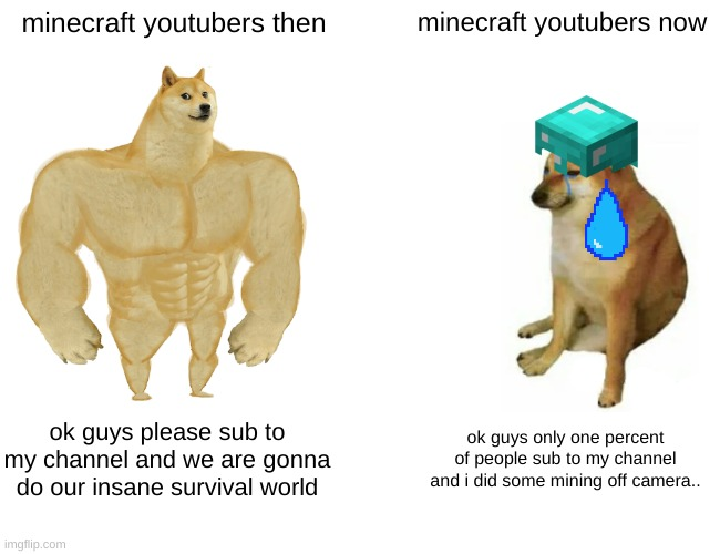 no name just meme |  minecraft youtubers then; minecraft youtubers now; ok guys please sub to my channel and we are gonna do our insane survival world; ok guys only one percent of people sub to my channel and i did some mining off camera.. | image tagged in memes,buff doge vs cheems | made w/ Imgflip meme maker