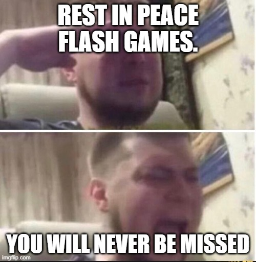 Crying salute |  REST IN PEACE FLASH GAMES. YOU WILL NEVER BE MISSED | image tagged in crying salute | made w/ Imgflip meme maker