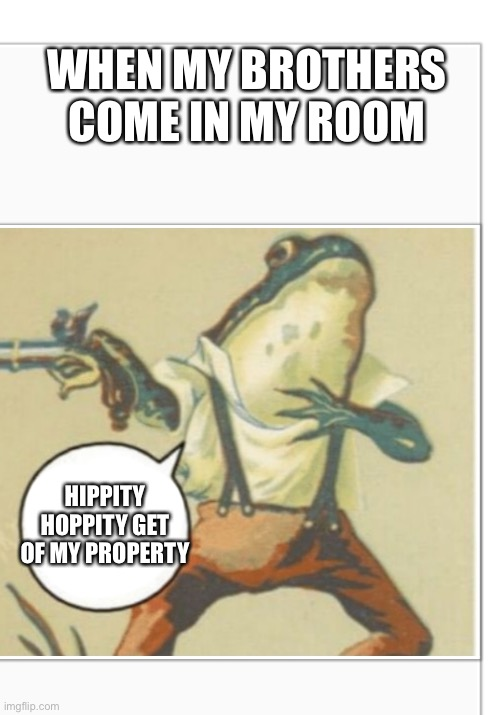 Facts |  WHEN MY BROTHERS COME IN MY ROOM; HIPPITY HOPPITY GET OF MY PROPERTY | image tagged in hippity hoppity blank | made w/ Imgflip meme maker