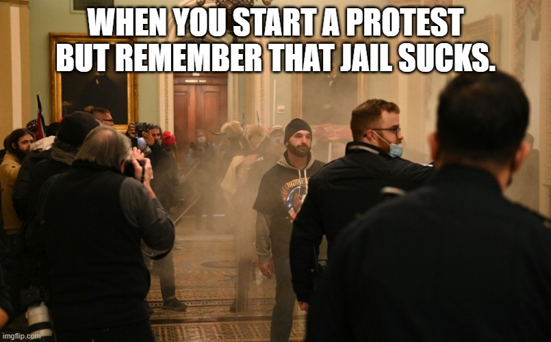 Regret |  WHEN YOU START A PROTEST BUT REMEMBER THAT JAIL SUCKS. | image tagged in politics suck | made w/ Imgflip meme maker