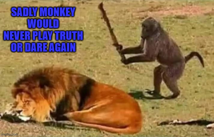 I never play that game... |  SADLY MONKEY WOULD NEVER PLAY TRUTH OR DARE AGAIN | image tagged in drunk monkey,memes,truth or dare,funny,monkey,animals | made w/ Imgflip meme maker