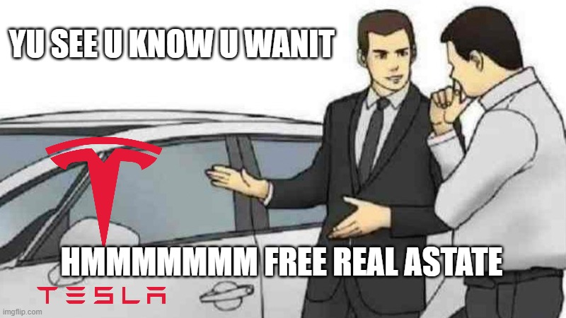 elon musk be like |  YU SEE U KNOW U WANIT; HMMMMMMM FREE REAL ASTATE | image tagged in true | made w/ Imgflip meme maker